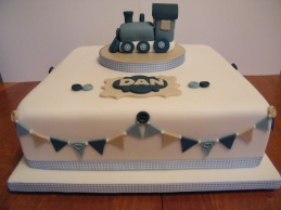 Train theme birthday christening cake
