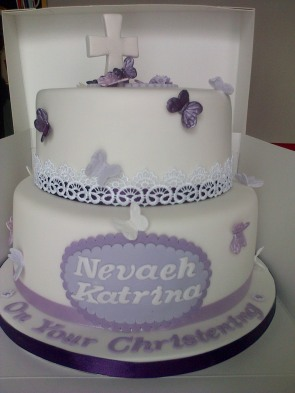 Christening cake purple and white with butterflies