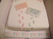 Christening cake with footprints