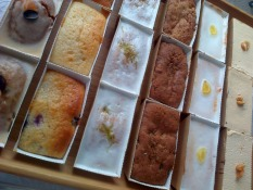 Tray of mini loaf cakes