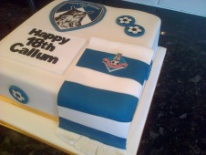 Oldham Athletic theme 18th birthday cake