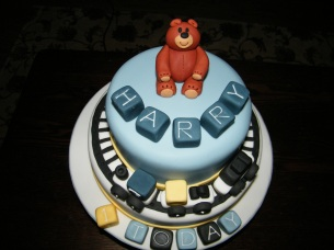 Train and bear theme 1st birthday cake