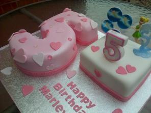 Tinkerbell theme 5th birthday cake