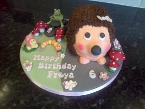 Hedgehog and animals 6th birthday cake
