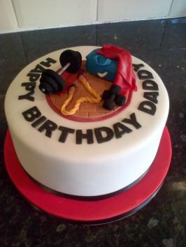 Gym themed birthday cake