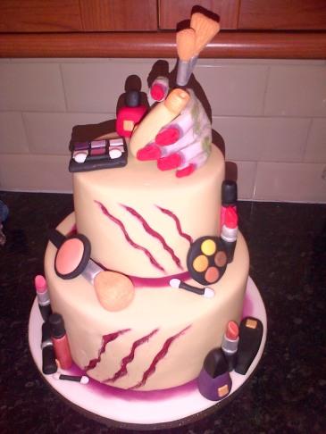 Zombie makeup theme birthday cake