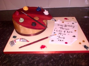 Artist pallette birthday cake