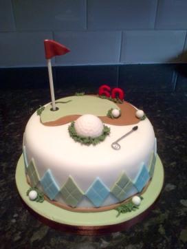 Golf themed 60th birthday cake