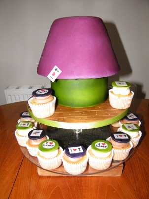 Lamp shaped novelty cake with cupcakes