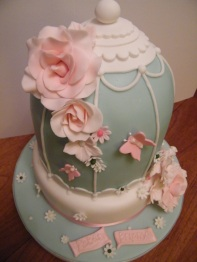 Blue, white and pink birdcage design engagement cake with butterflies