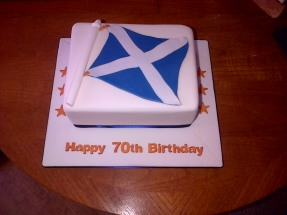 Scotland flag 70th birthday cake