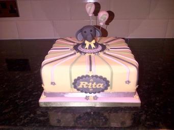 Elephant with balloons 75th birthday cake