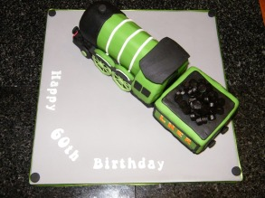 Flying Scotsman steam train theme 60th birthday cake