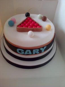 Snooker themed birthday cake