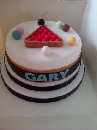 Snooker themed birthday cake