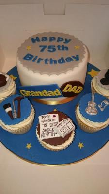 75th Birthday cake for grandad, dad with newspaper, tools and music