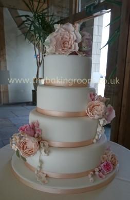 wedding cake with handmade flowers